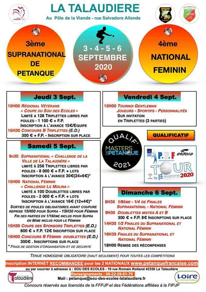 Calendrier Petanque Charente Maritime 2021 La Talaudiére 2020